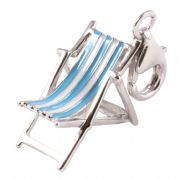 Deckchair / Sun Lounger 3D Sterling Silver & Enamel Clip On Charms